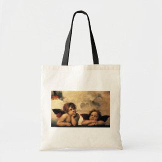Sistine Madonna, Angels detail by Raphael Tote Bag