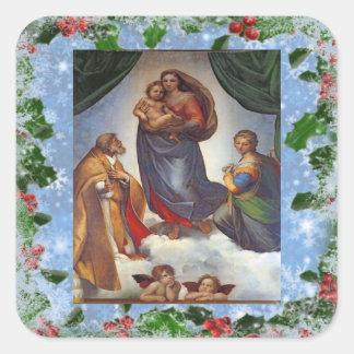 Sistine Madonna Christmas Sticker Square Sticker
