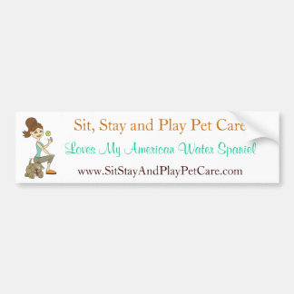 Sit, Stay and Play Pet Care Love My Water Spaniel Car Bumper Sticker