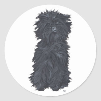 Sitting Affenpinscher Classic Round Sticker