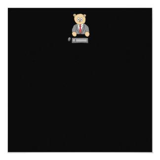 Sitting at a Desk - Red Tie. 13 Cm X 13 Cm Square Invitation Card