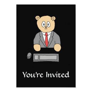 Sitting at a Desk - Red Tie. 13 Cm X 18 Cm Invitation Card