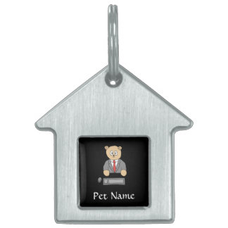 Sitting at a Desk - Red Tie. Pet Name Tag
