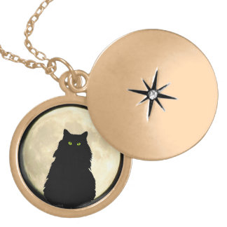 Sitting Black Cat and Moon Round Locket Necklace