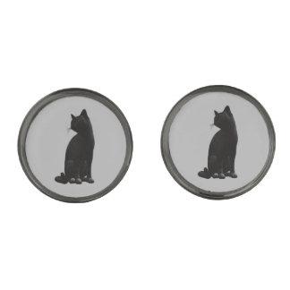 Sitting Black Cat Cufflinks Gunmetal Finish Cuff Links