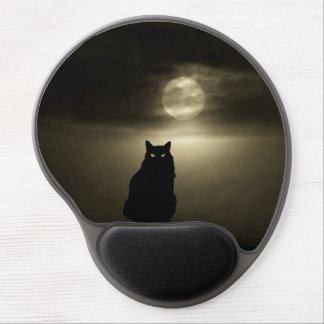 Sitting Black Cat in Moonlight Gel Mouse Mat