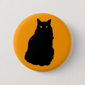 Sitting Black Cat on Orange 6 Cm Round Badge