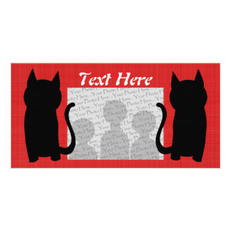 Sitting Black Cat Silhouette. Card