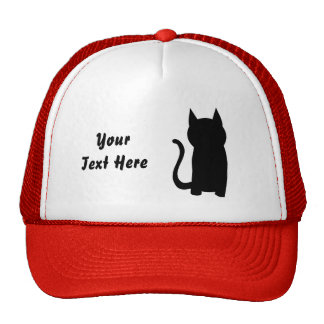 Sitting Black Cat Silhouette Hat