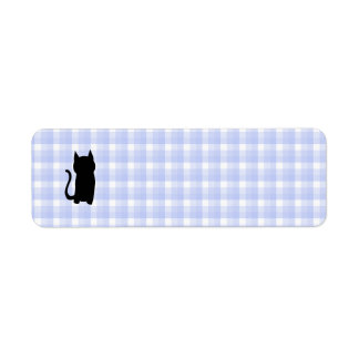 Sitting Black Cat Silhouette. On pale blue check.
