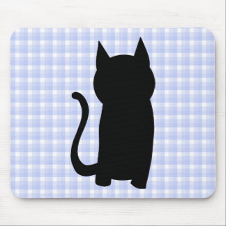 Sitting Black Cat Silhouette. On pale blue check. Mouse Mat