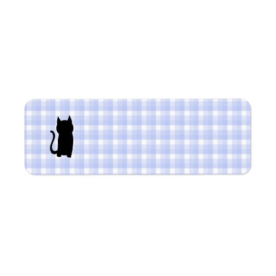 Sitting Black Cat Silhouette. On pale blue check. Return Address Label