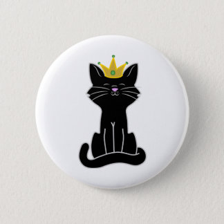 Sitting Black Cat with Gold Crown 6 Cm Round Badge