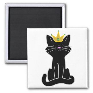 Sitting Black Cat with Gold Crown Square Magnet