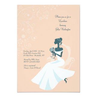 Sitting Bride African American Shower Invitation