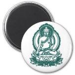 SITTING BUDDHA MEDITATING PEACE 6 CM ROUND MAGNET