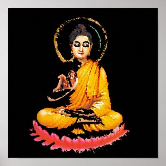 SITTING BUDDHA MEDITATING PEACE POSTER