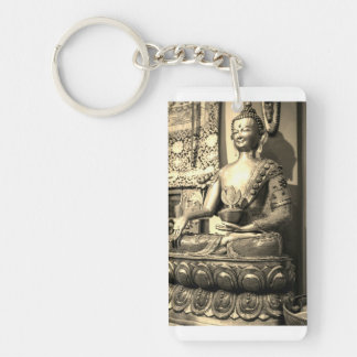 Sitting Buddha Statue Double-Sided Rectangular Acrylic Key Ring