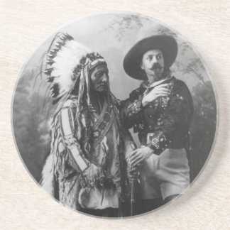 Sitting Bull and Buffalo Bill Portrait from 1885 Beverage Coaster