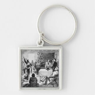 Sitting Bull Council, 1877 Silver-Colored Square Key Ring