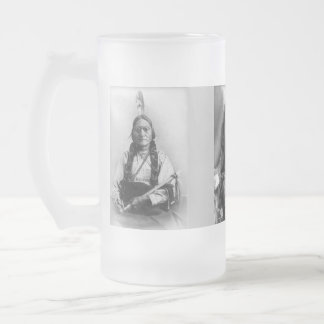 Sitting Bull, Hollow Horn Bear, and Geronimo Frosted Glass Beer Mug