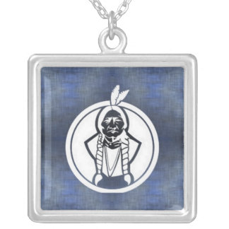 'Sitting Bull II' Square Pendant Necklace