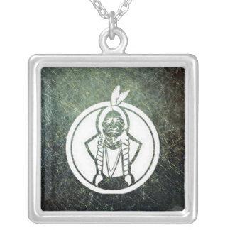 'Sitting Bull III' Square Pendant Necklace