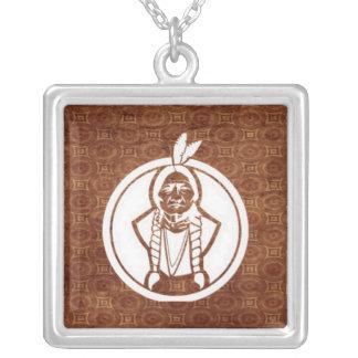 'Sitting Bull IV' Square Pendant Necklace