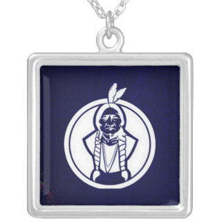 'Sitting Bull Outline' Square Pendant Necklace