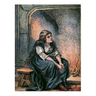 """""""Sitting by the Fire"""" Vintage Illustration Postcard"""