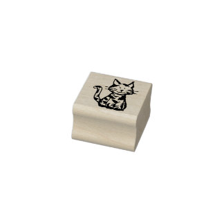 Sitting Calico Kitty Cat Rubber Stamp