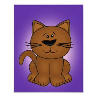 Sitting Cartoon Cat on A Purple Background Photographic Print