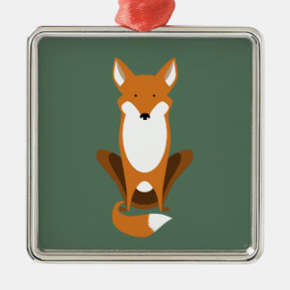 Sitting Fox Silver-Colored Square Decoration