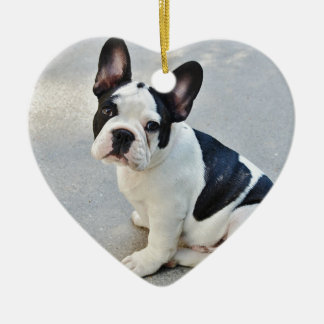 sitting french bulldog ceramic heart decoration