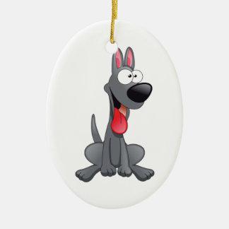 Sitting Gray Cartoon Dog Christmas Ornament