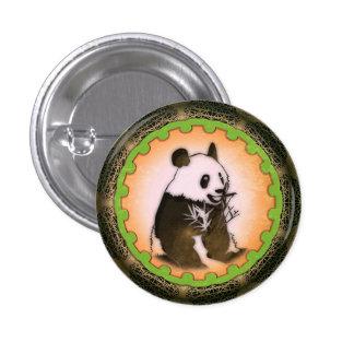 Sitting Happy Panda in Orange 3 Cm Round Badge