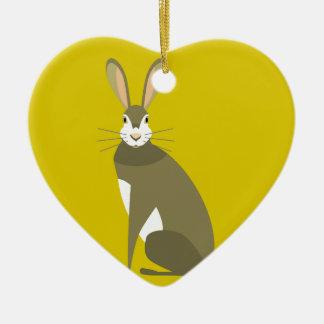 Sitting Hare Ceramic Heart Decoration