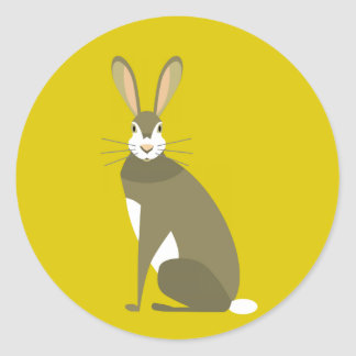 Sitting Hare Classic Round Sticker