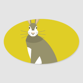 Sitting Hare Oval Sticker