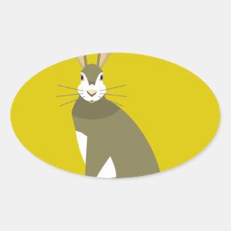 Sitting Hare Oval Sticker