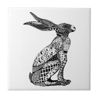 Sitting Hare Small Square Tile