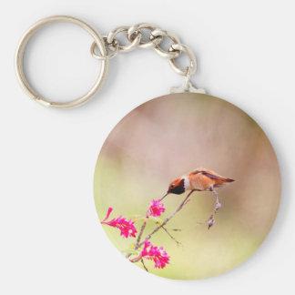 Sitting Hummingbird Sipping Flower Nectar Basic Round Button Key Ring