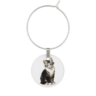 Sitting Kitty Vintage Kittens Wine Charm