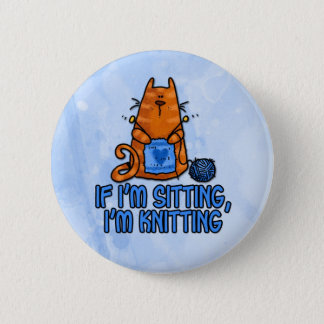 sitting knitting 6 cm round badge