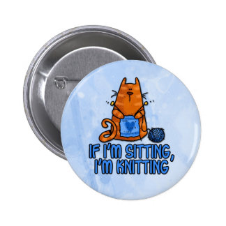 sitting knitting pinback button