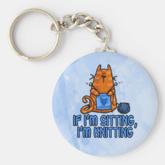 sitting knitting key ring