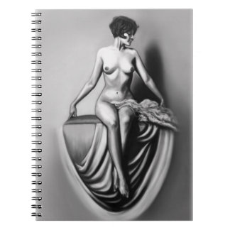sitting lady female nude artwork note book