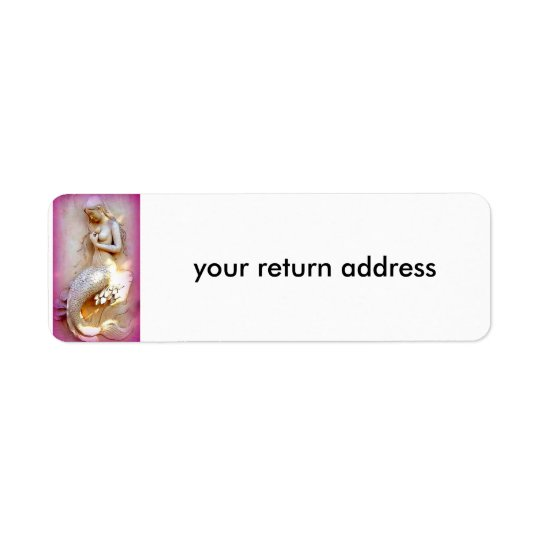 sitting mermaid pink return address label
