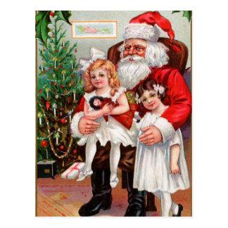 Sitting on Santa's Lap Postcard