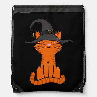 Sitting Orange Cat with Halloween Witch Hat Drawstring Bag